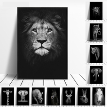 Canvas Painting Animal Wall Art Lion Elephant Deer Zebra Posters and Prints Wall Pictures for Living Room Decoration lion zebra elephant cow nordic animal posters and prints wall art canvas painting decorative pictures for living room home decor