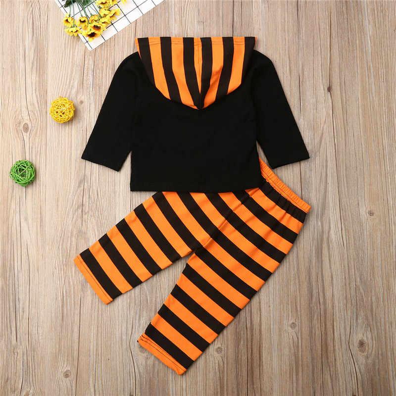 ฮาโลวีนชุดเสื้อผ้าเด็กแรกเกิดฟักทอง Hoodies เสื้อสำหรับสาวชุดกีฬาสีส้มสีดำลายกางเกงเด็กชุด