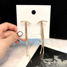 2019 New Arrival Metal Trendy Geometric Women Dangle Earrings Simple Long Tasseled Eardrop Fashion Earrings For Women Statement