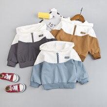 Свитер для малышей и детей постарше; пуловер с капюшоном и длинными рукавами в стиле пэчворк для мальчиков; свитер; Осенняя повседневная одежда
