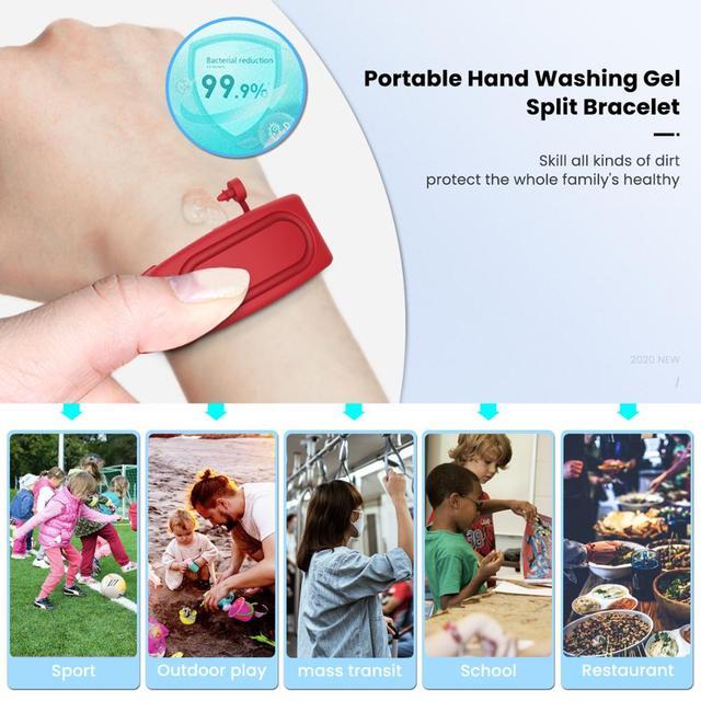 D sinfectant pour les mains d sinfectant sous emballage Bracelet en Silicone Bracelet distributeur de main