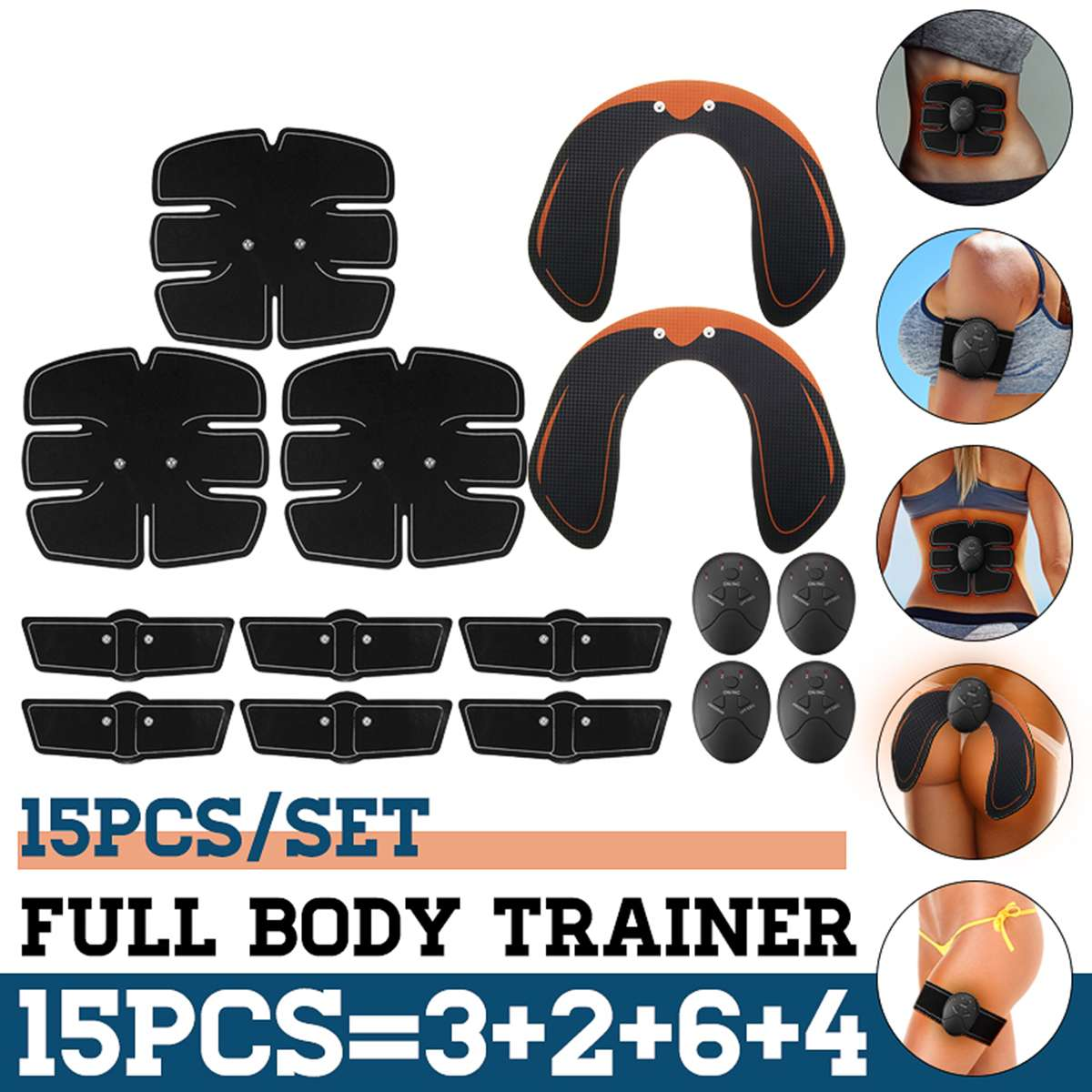 15PCS/Set EMS Muscle Abdominal Trainer Smart Muscle ABS Hip Abdominal Muscle Stimulator Massage Set Weight Loss Home Exercise