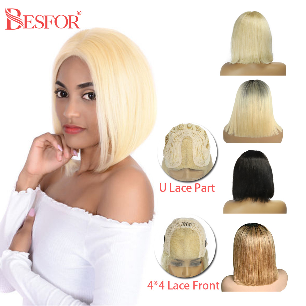 U Part Lace 4x4 Lace Closure Front Human Hair Bob Wig  Blonde Ombre Short 1B613 Natural 1B27 Remy Straight Glueless Frontal Wigs