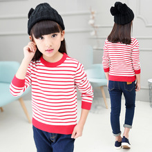 цены на New Striped Winter Coat Thick Twist Sweater Girls Long Sleev O Neck Girls Pullover Knit Cardigan for Girls Children Clothing  в интернет-магазинах