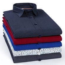 Regular de manga longa negócios masculinos camisa casual outono blusa superior magro ajuste moda impressão 97% algodão camisas vestido ásia tamanho