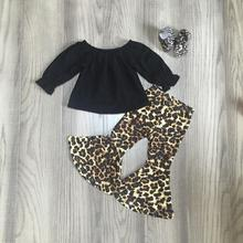 baby Girl fall clothes children winter outfits girls leopard outfits floral cow head pants bell bottoms pant with accessories