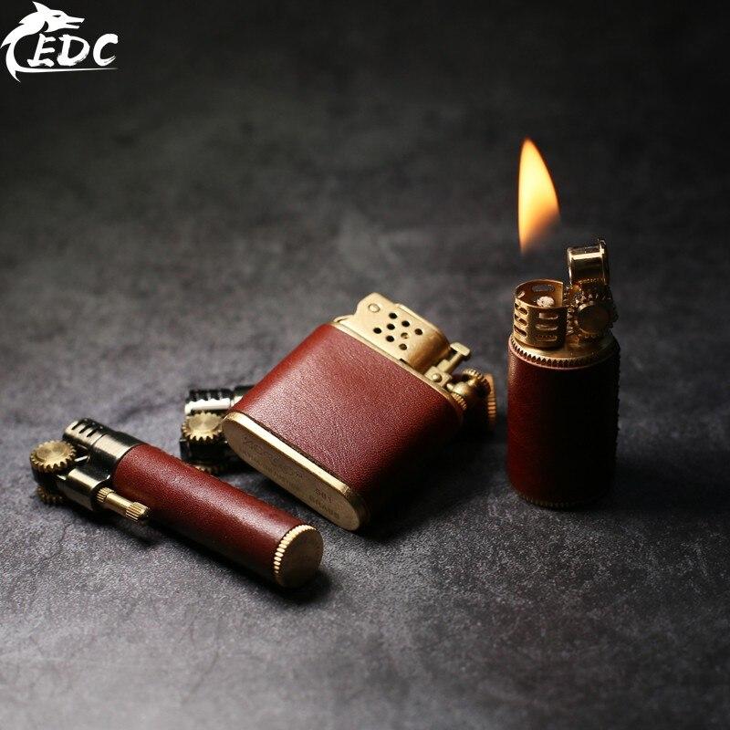 Vegetable Tanned Leather Set Three Brass Pure Copper Retro Windproof Kerosene Lighter Shell Body (no Oil) EDC Play