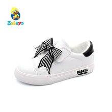 Babayaรองเท้าเด็กรองเท้าเด็กหญิงเด็กหญิงBow Knot 2019ฤดูใบไม้ผลิใหม่เจ้าหญิงรองเท้าสาวแฟชั่นรองเท้าสบายๆหญิงรองเท้าผ้าใบ