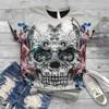 Womens T-Shirt Tops Tees Short-Sleeve Plus Size 3d Skull Printed O-Neck Tee T-shirt Blouse Tops
