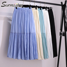 Surmiitro Cotton Midi Skirt Women 2020 Summer Korean Elegant Blue White Black Hi