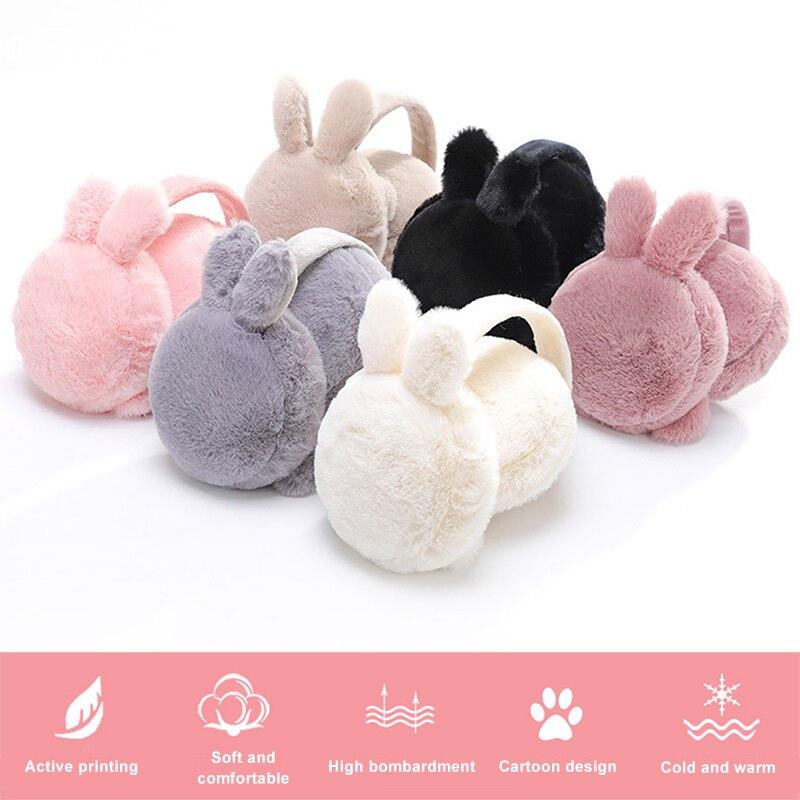 Winter Plush Ear Muffs Foldable Cartoon Women Warm Earmuffs Ear Warmer EIG88
