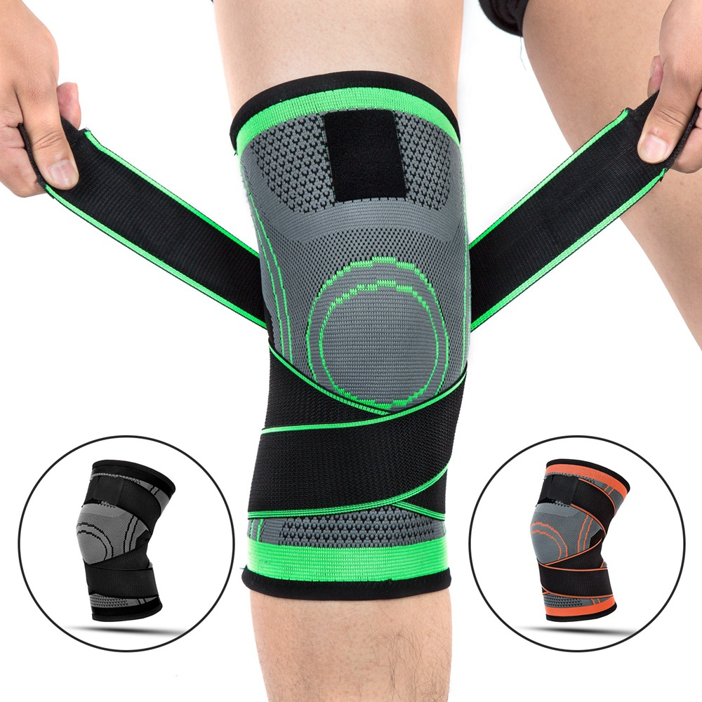 Men Sports Kneepad Pressurized Elastic Knee Pads Support Fitness Gear Basketball Volleyball Brace Protector Women Bandage K001