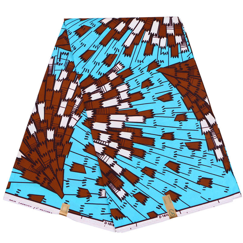 2019 Latest Arrivals New African Pagnes Ankara Veritable Real Dutch Wax Blue And Brown Printed Fabric 6Yards\Set
