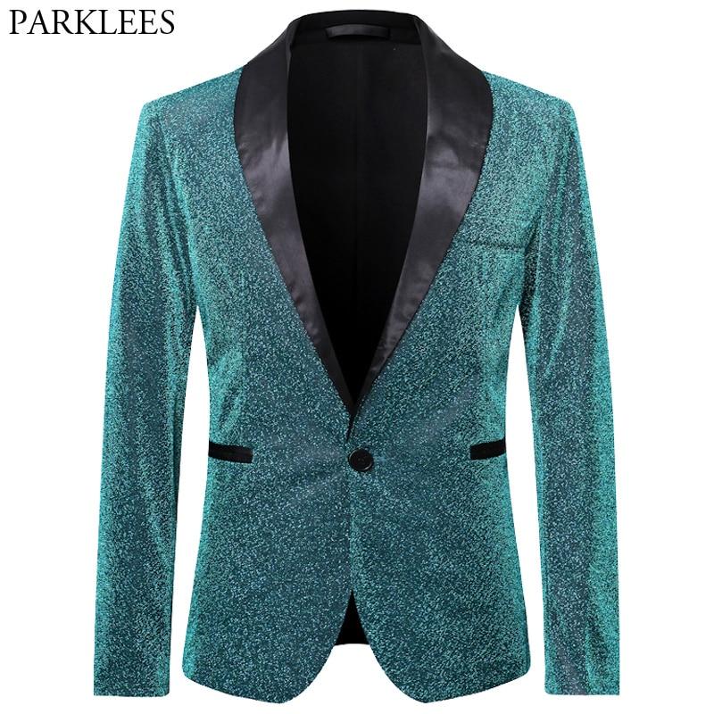 Glitter Blazer Men Silk Sparkle Mens Dress Blazers Men Club Blazer Stage Blazers Mens Tuxedo Clothes Performer Suit Hombre Green