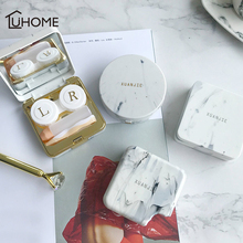 1pc Vintage Marble Pattern Cover Contact Lens Case with Mirror Beauty Lenses Container Travel Kit Storage Box