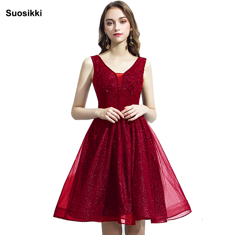 Cocktail     dresses   applique party pink lace Beading 2019 new evening party gown formal short prom   dress