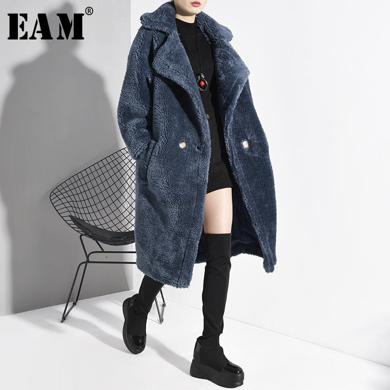 [EAM] Women Blue Split Lone Big Size Thick Trench New Lapel Long Sleeve Loose Fit Windbreaker Fashion Tide Spring 2020 1D50105