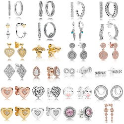 Novo 100% 925 brincos de prata esterlina brilhante assinatura coração redondo eardrop rosa ouro orelha studs charme caber dangler original