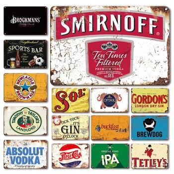 Brytyjski wódka znak blaszany Vintage Beach Bar wystrój pubu metalowa płytka spersonalizowane Retro Artware naklejki ścienne kuchnia wystrój pokoju znaki