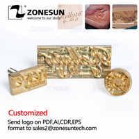 ZONESUN Logo Personalizzato Timbro a Secco Hot Foil Stamping In Ottone Stampo Per Disegno di Cuoio di Legno di Stampo di Carta Goffratura Piastra di Stampo FAI DA TE