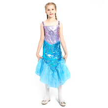 Novelty Girls Dresses Sleeveless Sequined Children Fashion Princess Halloween Cosplay Mermaid Costumes