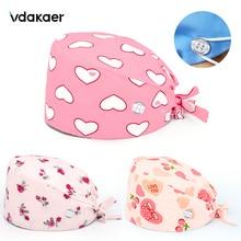 Hats Scrubs-Hat Laboratory-Accessories Nursing-Cap Beauty Salon Adjustable with Buttons