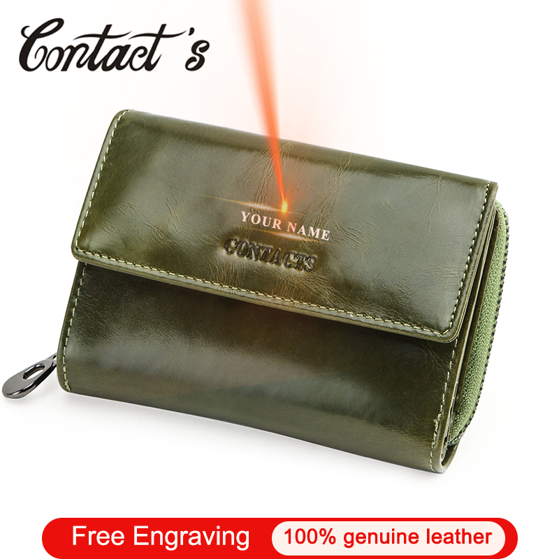 Contact's Free Engraving Wallet Women 2020 Small Money Bags Gift For Ladies Genuine Leather Female Coin Purse Card Holder Rfid