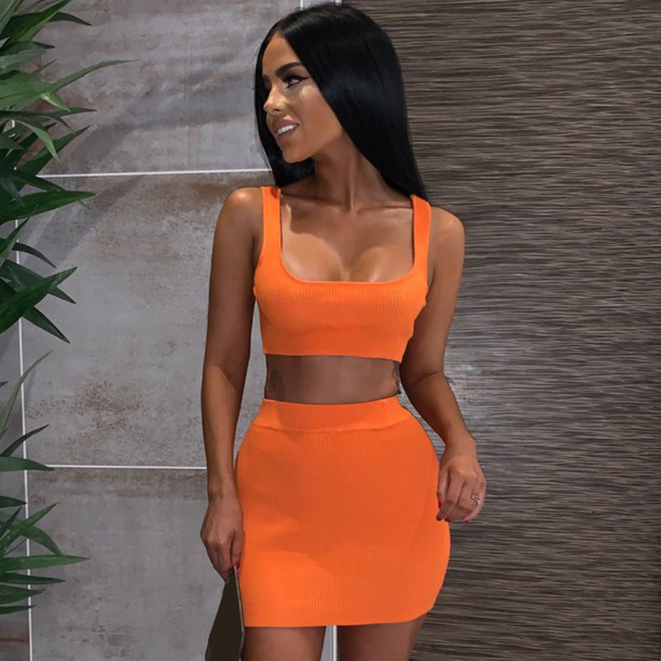 Adyce 2019 New Summer Women Club Bandage Set Strapless Short Top&Skirt Two Piece Set Night Out Club Celebrity Evening Party Sets