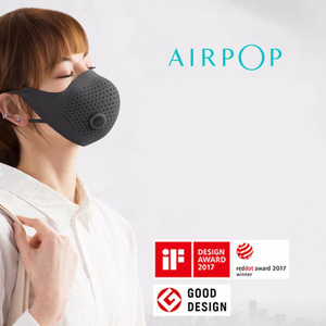 Image 2 - AirPOP Air Wear PM0.3/PM2.5 Anti haze Face Mask With 2Pcs Filter Adjustable Ear Hanging Comfortable Adult Face Mask