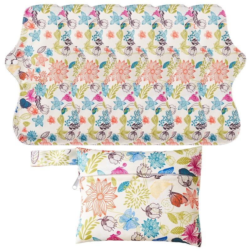6+1 Set Reusable Menstrual Pads Feminine Hygiene Napkin Women Heavy Flow Panty Liner Bamboo Charcoal Sanitary Pads Reusable Pads