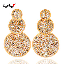 SINLEERY Luxury Shniy Stones Big Earring For Women Gold Silver Color Wedding Party Earing Fashion Jewelry 2021 004 LK2