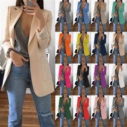 S-XXXXXL женский сплошной цветной лацкан воротник длинный рукав Тонкий OL стиль элегантный открытый костюм (15 цветов)
