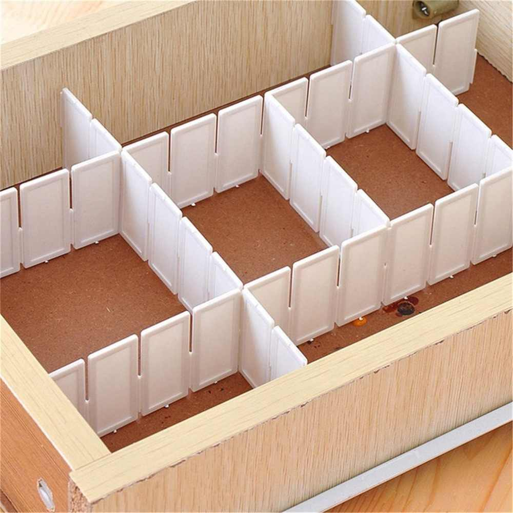 6Pcs DIY Grid Drawer Divider Household Necessities Storage Organizer Plastic Divider For Desk Drawer Closet Space-saving Tools