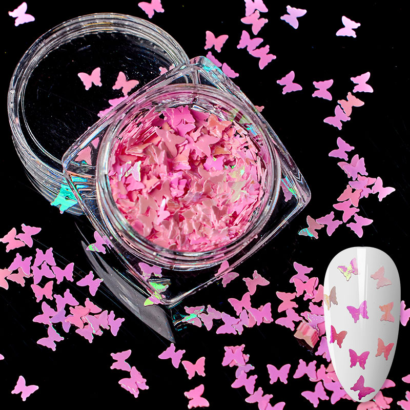 1 Box Butterfly Nail Art Decorations Flakes Glitter Holographic Sequin Chrome 3D Sparkle Polish Manicure Accessories