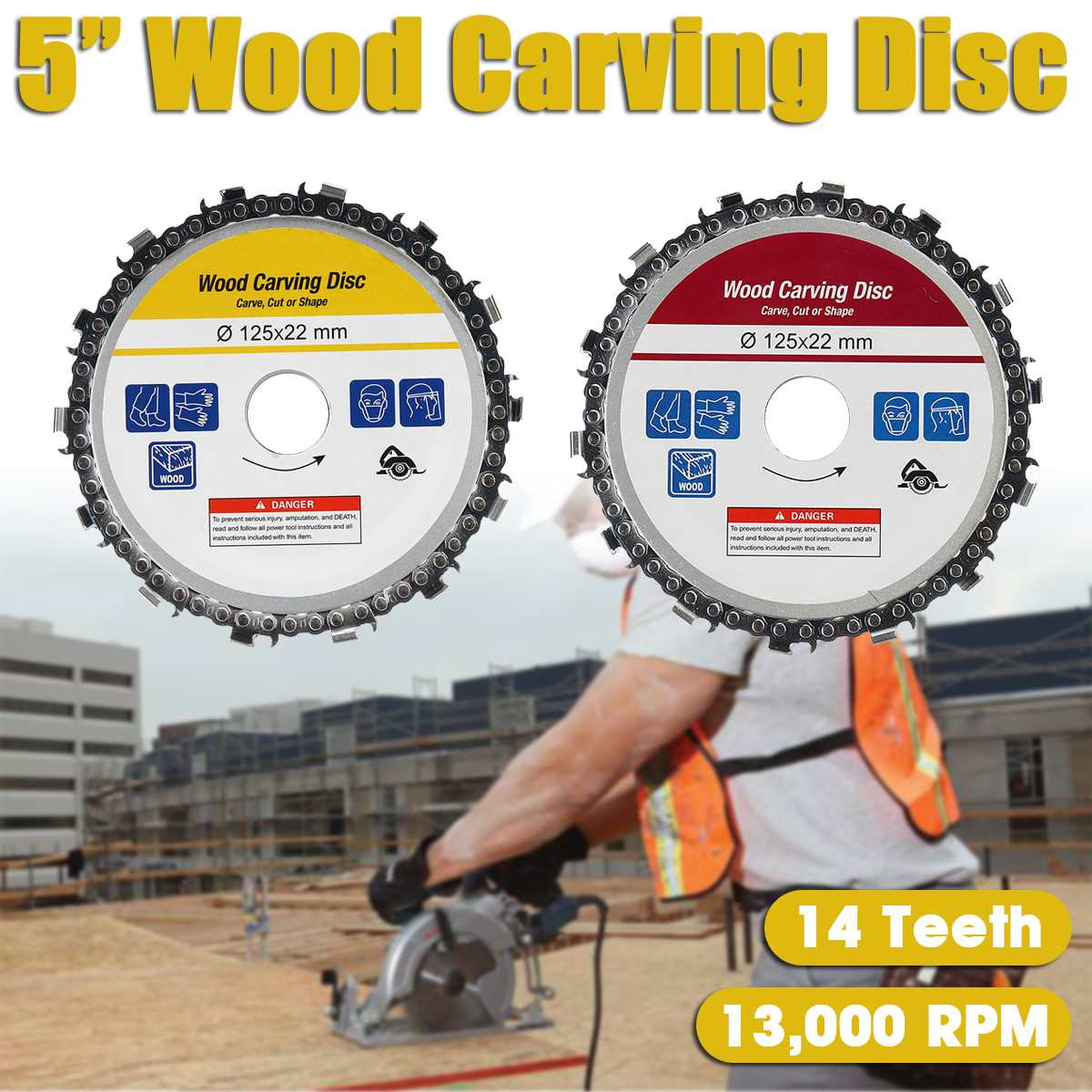 5'' Angle Grinder Disc 14 Tooth Chain Saw For Wood Carving Culpting Plastic Tool Angle Grinders Carving Tool