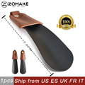 Zomake Leather Cover Lazy Shoe Horn Metal handled Shoe lifter Stainless Steel Shoehorn Mini Short Shoe Sock Slider For Women Kid