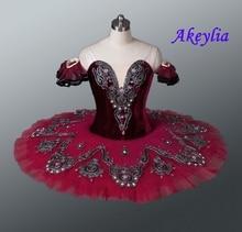 Tutu de balé borgonha profissional, traje de palco com tutu, vermelho, para meninas