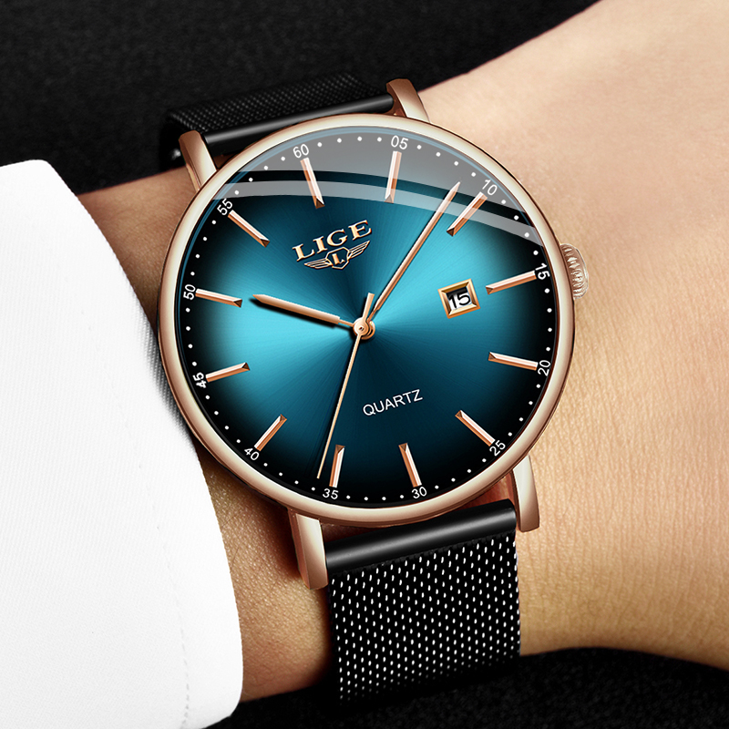 Image 2 - LIGE Fashion Mens Watches Top Brand Luxury Blue Waterproof Watches Ultra Thin Date Simple Casual Quartz Watch Men Sports Clock-in Quartz Watches from Watches