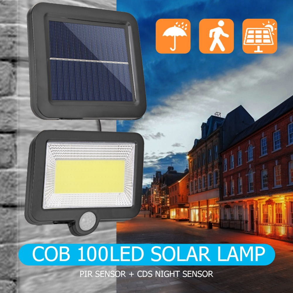 COB Wall Mounted Solar Outdoor Light with 120LED and Motion Sensor Suitable for Street and Garden 24