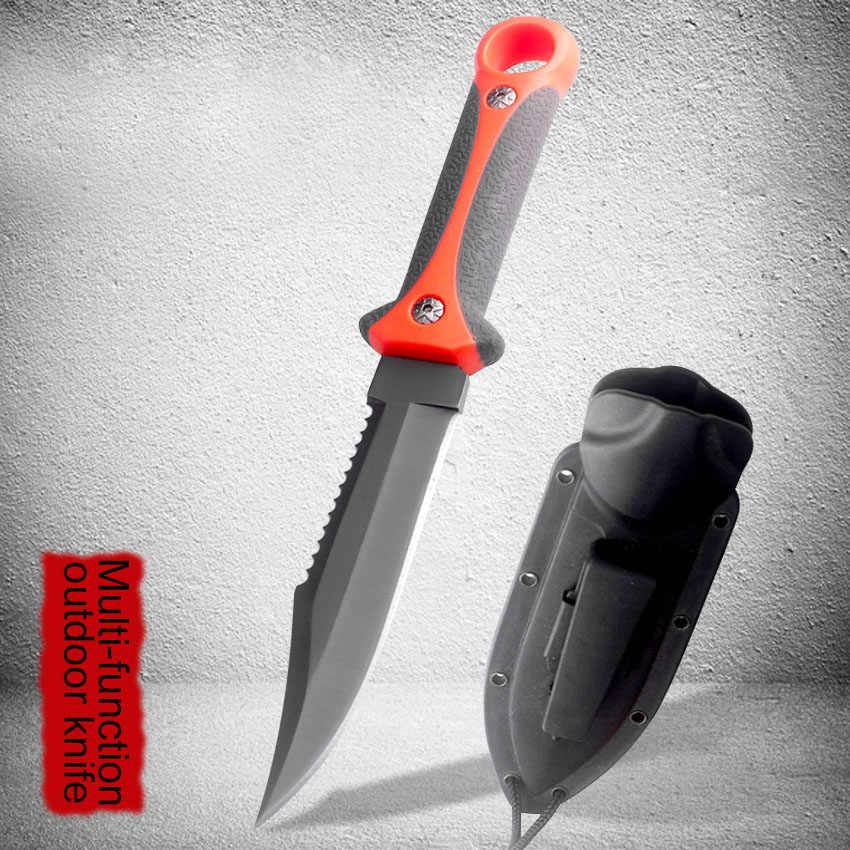 Soğuk silah açık hayatta kalma bıçağı özel kuvvetler sualtı halat kesici düz bıçak trityum gaz taktik bıçak taşıma