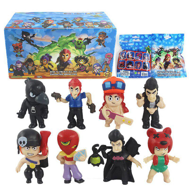 24 Packs/lot Brawls Figure Game Toys With Card Pack Star Hero Model Spike Shelly Colt Leon Doll New Year Xmas Gift For Children