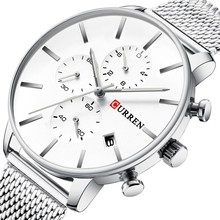 CURREN luxury Fashion Mesh Strap Stainless Steel Quartz Watches Men Casual Male Clock Chronograph and Auto Date Wristwatch Reloj curren fashion brand luxury analog date men s quartz watch casual watches men wristwatch stainless steel strap silver mesh band
