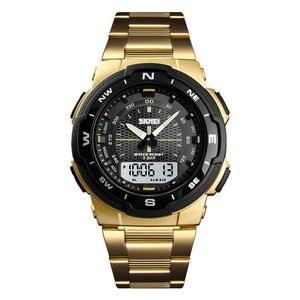 SKMEI модные спортивные электронные часы для занятий спортом на открытом воздухе студенческие часы со стальным ремешком с двойным дисплеем в...
