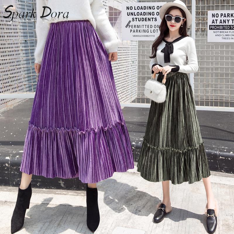 SparkDora Winter Women Solid Pleated Skirt For Female Velvet Black Gray Purple High Waist Ladies Long Ankle-Length Midi Skirt