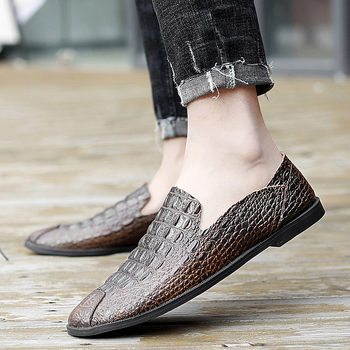 Crocodile Pattern Shoes Men loafers fahsion Autumn Casual Shoes Men Breathable genuine Leather Loafers Trend Loafers moccasins фото