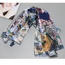 """NEUE 100% Silk Schal Schal Wraps Stadt Tiere Print Fashion Silk Schals Foulard 35 """"x 35"""""""