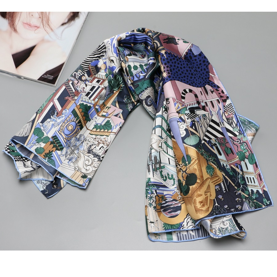 NEW 100% Silk Scarf Shawl Wraps City Animals Print Fashion Silk Scarves Foulard 35