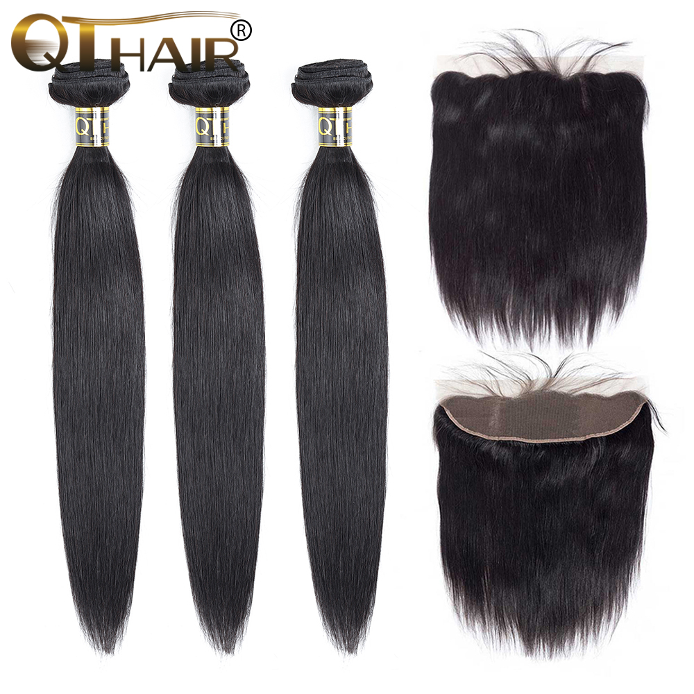Straight Hair Bundles With Frontal Peruvian Bundles With Lace Frontal QT Hair 3 Bundles With Frontal Non-remy Free Shipping