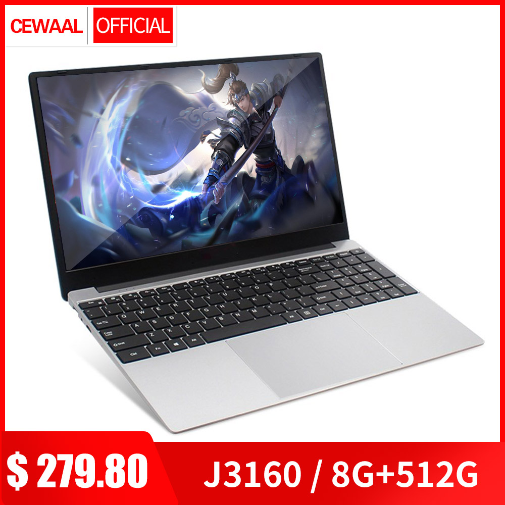 15.6 inch 8G RAM 128G/256G/512G M.2 SSD Laptop Office/Gaming Computer Intel J3160 QUAD CORE Windows 10 OS Ultrabook HDMI 5G WIFI image