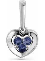 Master brilliant heart pendant with 3 white gold sapphires